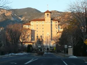 The venue, the Broadmoor Hotel, at sunrise.