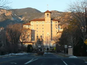 The venue, the Broadmoor Hotel, at sunrise.